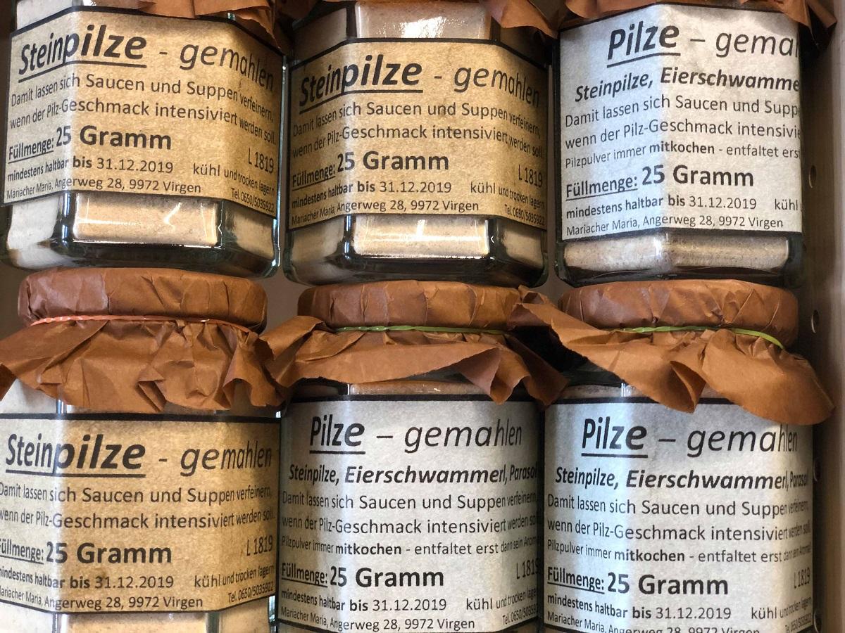 Für die leidenschaftliche Köchin - Pilzpulver im Bauernladen Virgen.